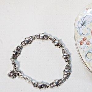 Brighton Silvertone Link Bracelet in Heart Tin Box